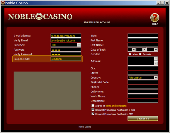 Noble Casino Coupon Code